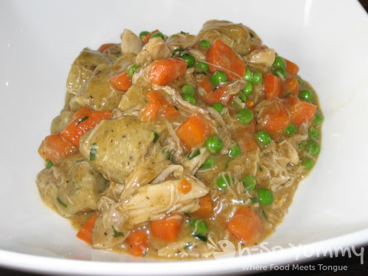 Chicken and Dumplings with Peas and Carrots