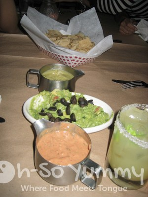Chips with Tomatillo and Hass Avocados, Guacamole, and Habanero and Creme Fraiche