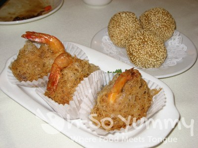 Fried Taro Balls with Shrimp and Sesame Balls
