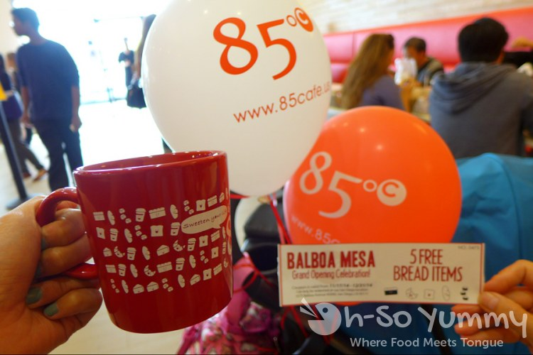 grand opening promotional items (mug, raffle ticket prize) from 85C Bakery Cafe in San Diego