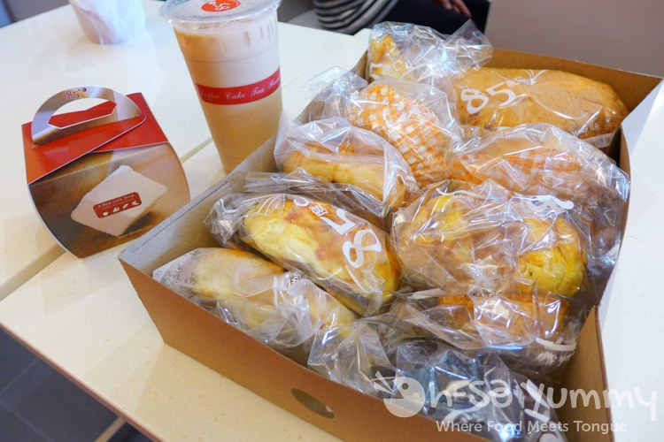 milk tea, boxed cake and bakery goods boxed and ready from 85C Bakery Cafe in San Diego