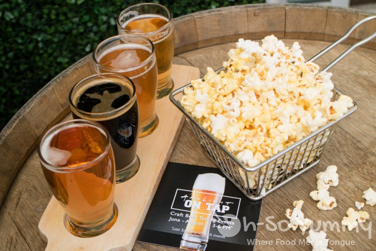 flight of Stone Brewing Co. beers and popcorn at ArcLight on Tap in La Jolla CA