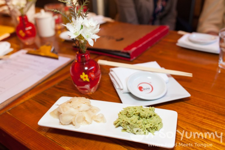 ginger and wasabi at Azuki Sushi in San Diego