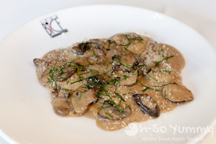 beef and spinach ravioli with mushroom marsala at BiCE Ristorante in downtown San Diego
