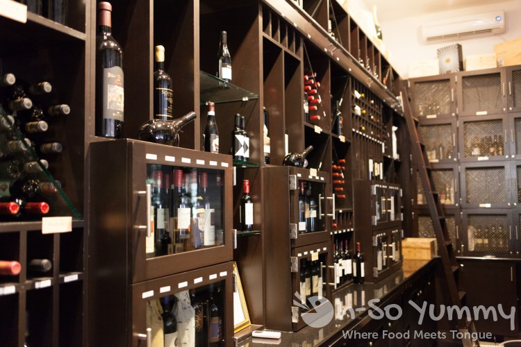 wine cellar at BiCE Ristorante in downtown San Diego