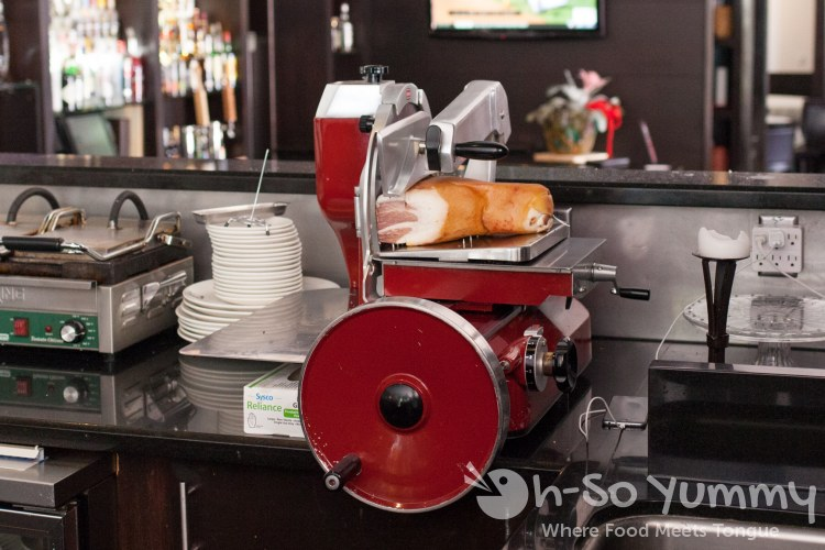 prosciutto slicer at BiCE Ristorante in downtown San Diego