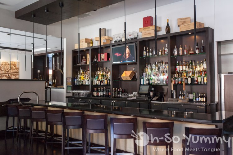 bar area at BiCE Ristorante in downtown San Diego