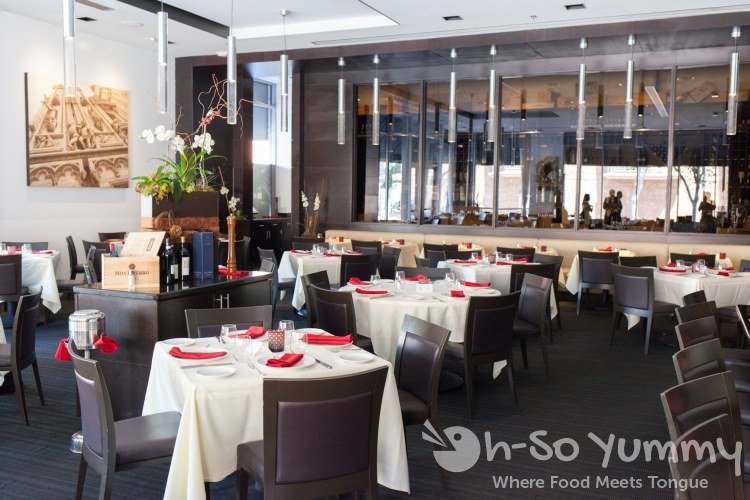 dining area at BiCE Ristorante in downtown San Diego