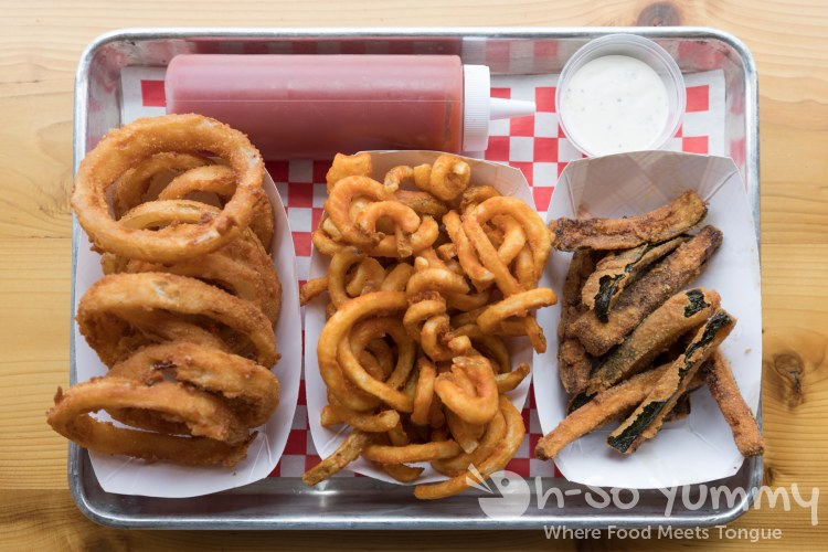 Onion Rings, Curly Fries and Zucchini Fries at Biggie's Burgers in Pacific Beach of San Diego