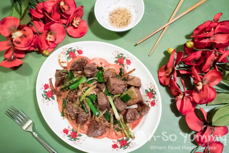 Bo Luc Lac (Vietnamese Shaken Beef) with a side of salt and pepper sesame oil