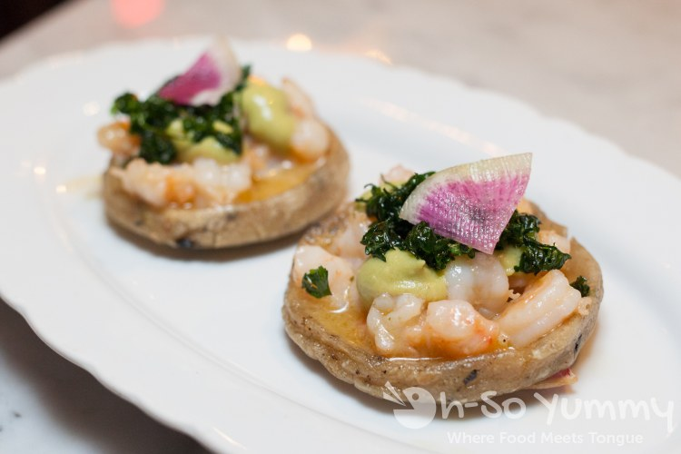 Shrimp and Bone Marrow Sopes at Bracero Cocina de Raiz