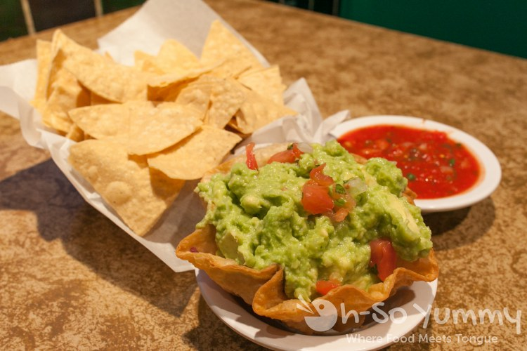 guacamole plus appetizer chips and salsa at Cafe Coyote in Old Town San Diego