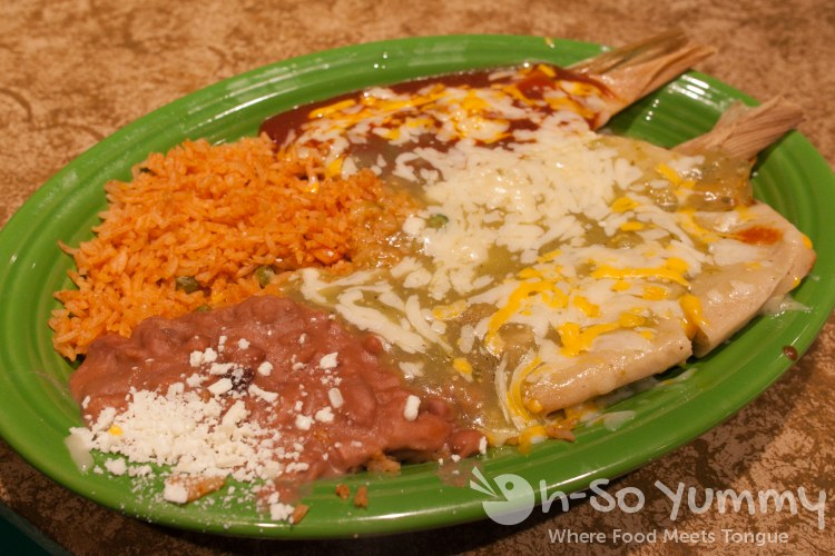 tamale combo of verdes, rojo, and santa fe at Cafe Coyote in Old Town San Diego
