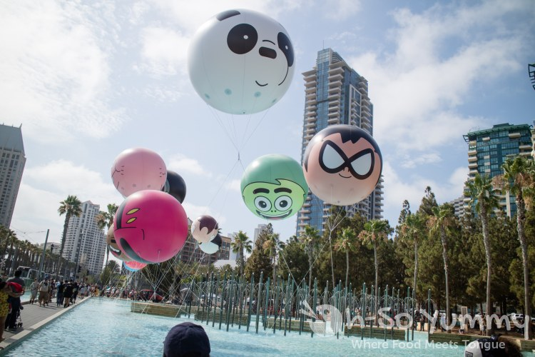Cartoon Network characters on balloons outside of San Diego Comic Con 2017