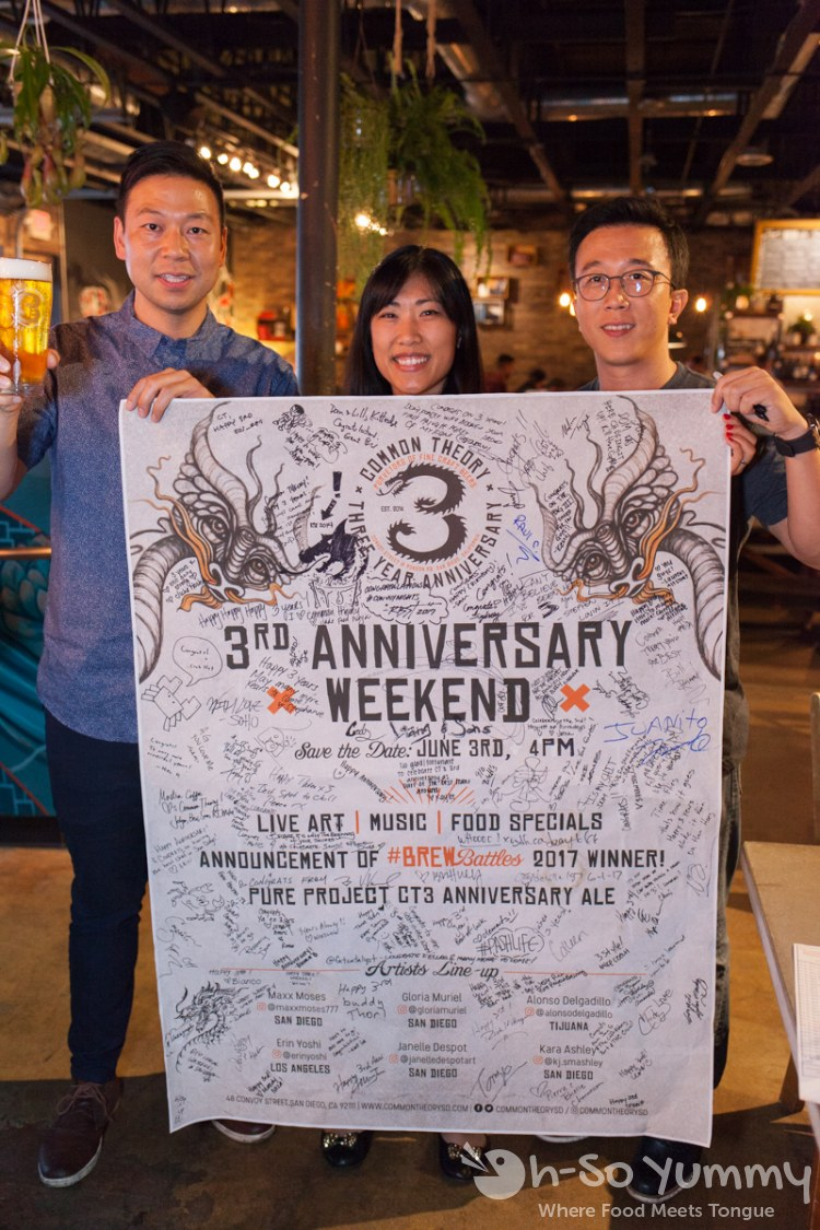 Three year anniversary weekend poster at Common Theory Public House in San Diego