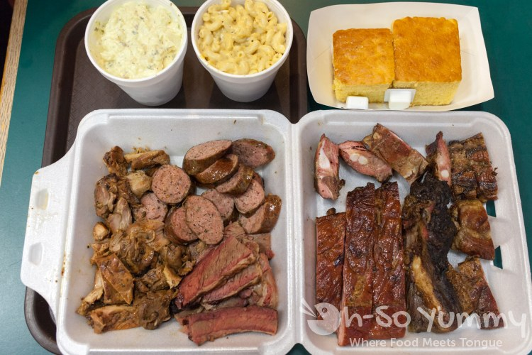 knockout platter and sides at Coops BBQ