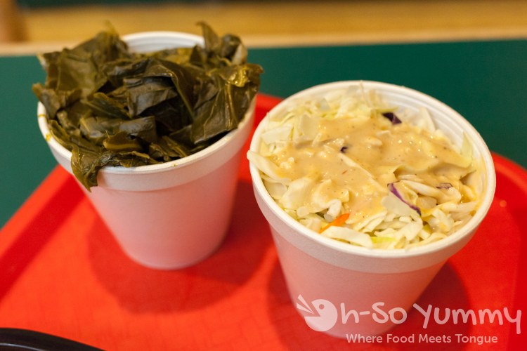 collard greens and cole slaw at Coops BBQ