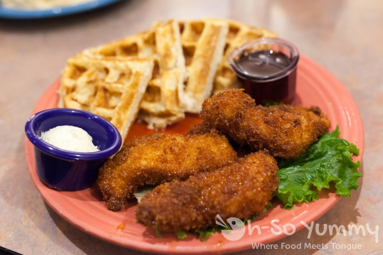 chicken and waffles at Crest Cafe in Hillcrest