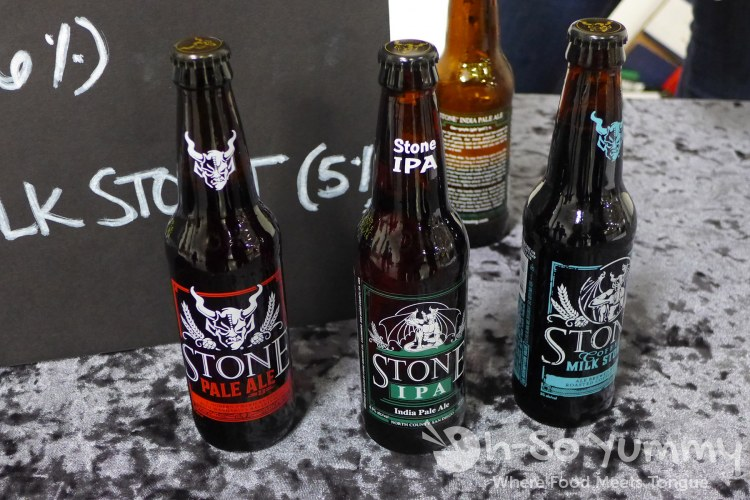 Stone Brewery pale ale, ipa and coffee milk stout