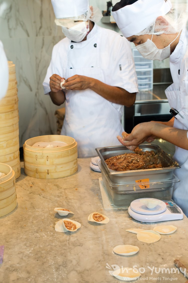 making fresh dumplings at Din Tai Fung at UTC Mall in San Diego