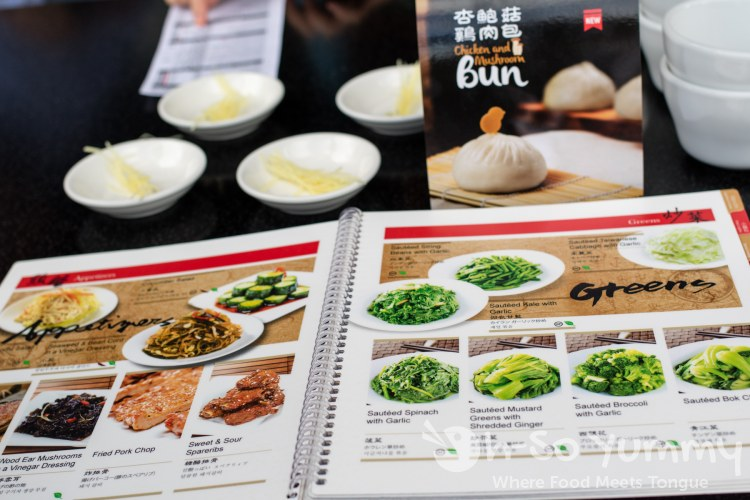 colorful menu at Din Tai Fung at UTC Mall in San Diego