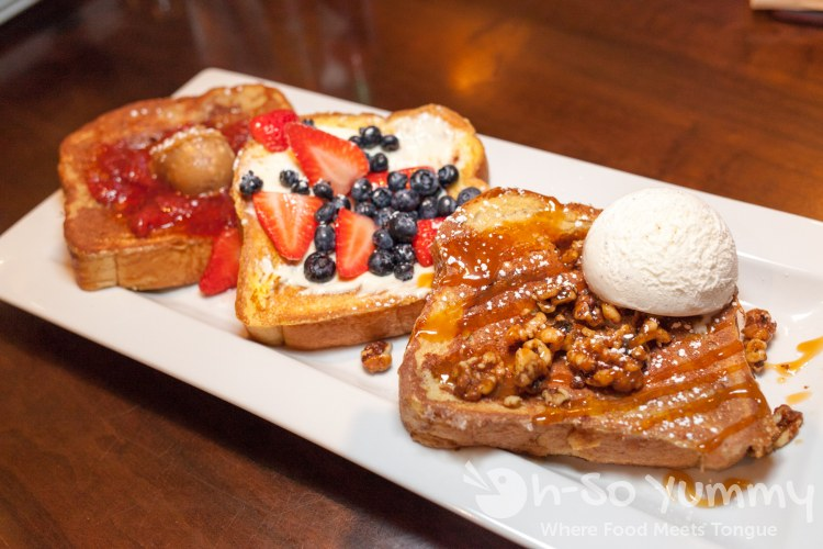 Trio Platter of signature French Toast at Duck Dive in Pacific Beach San Diego