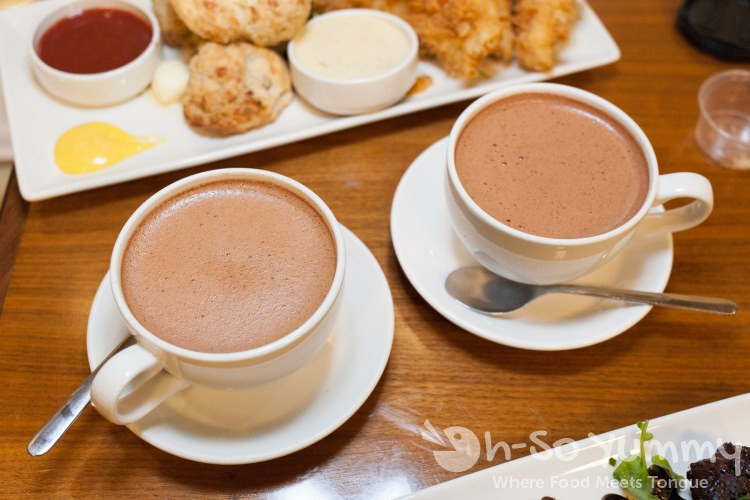Hot chocolate at Eclipse Chocolate Build A Bar workshop
