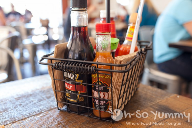 condiment basket at Fish District in the Carmel Mountain plaza in San Diego
