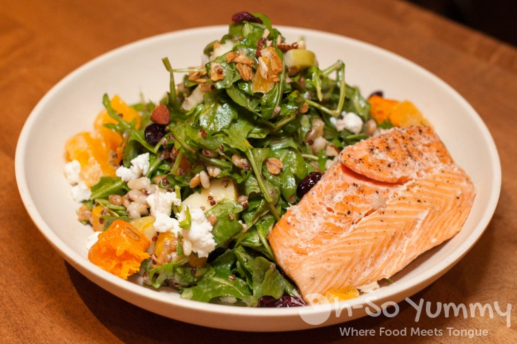 winter sunshine salad with salmon at Flower Child (Flower Hill Promenade) in Del Mar