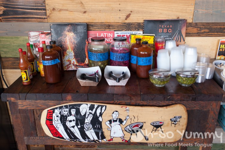 condiment station at Grand Ole BBQ Y Asado