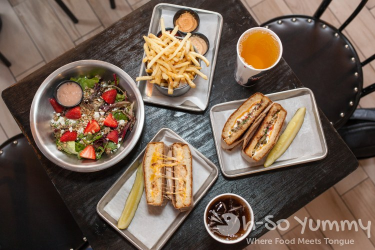 grilled cheese fries and salad at Grater Grilled Cheese in La Jolla
