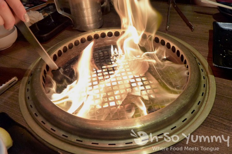 Gyu-Kaku Japanese BBQ - Fire in the Hole! Basting with Oil
