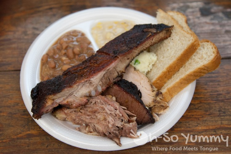 pork ribs, brisket, beans, creamed corn at Harmon's Bar-B-Q and Catering