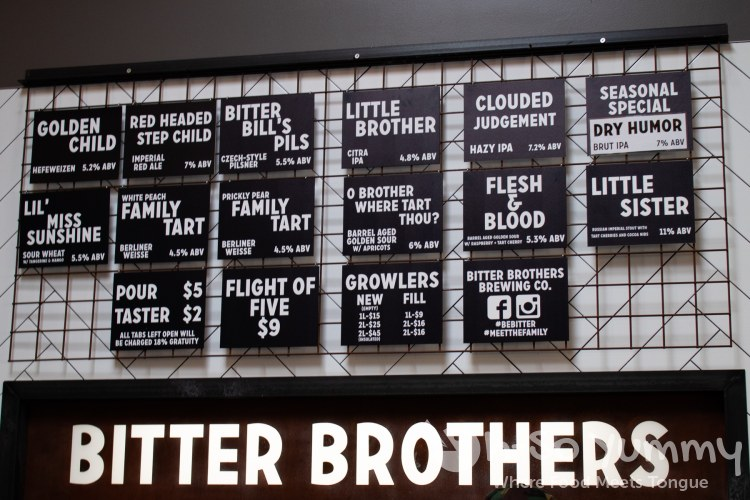 Beers on tap at Bitter Brothers Brewing Co