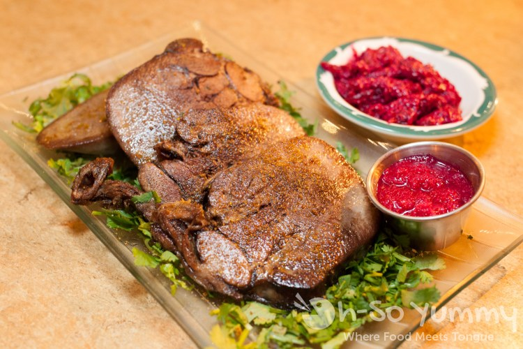 Zharenniyi Yazyik (beef tongue) at Kafe Sobaka Restoran Pomegranate