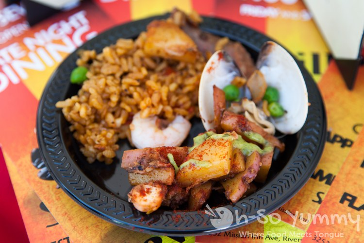 Cafe Sevilla paella and patata bravas at Latin Food Fest San Diego