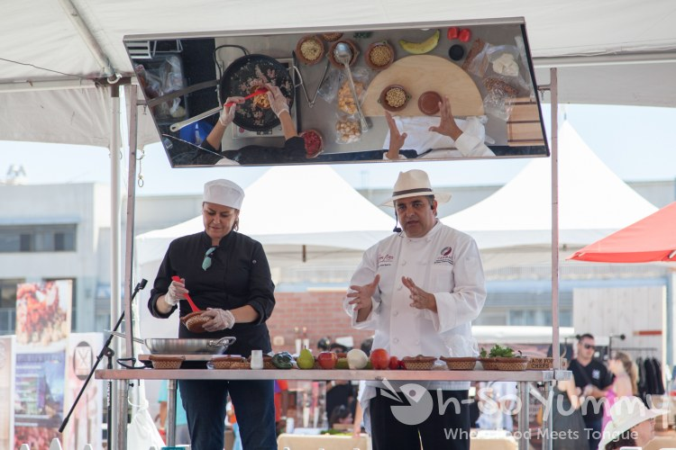 Chef Jose Sparza on the demo stage at Latin Food Fest San Diego