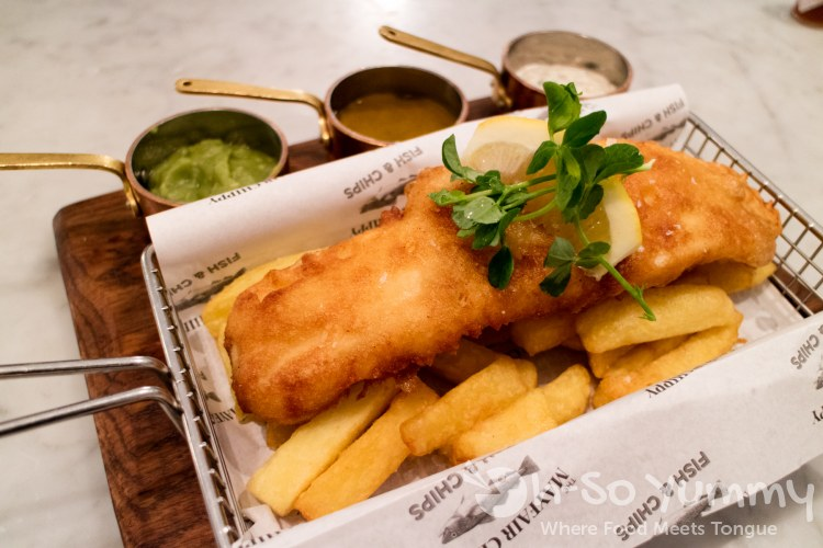 fish and chips at mayfair chippy in London UK