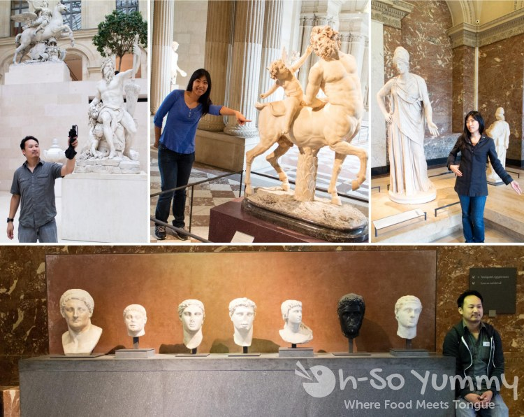 fun with sculptures at The Louvre Museum in Paris France