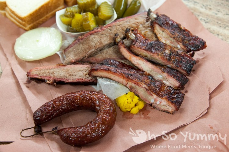 sausage, brisket and ribs at City Market in Luling Texas
