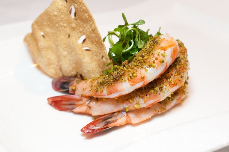 Pistachio Panch Phoron Wild Prawns at the Marine Room in La Jolla