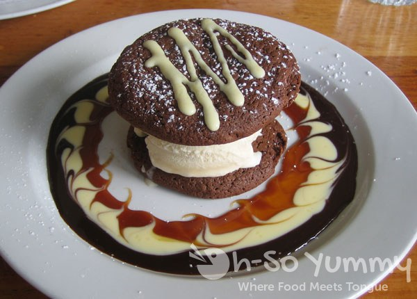 McCormick and Schmick's Two Soft Chocolate Cookies Sandwiched with Vanilla Ice Cream and Chocolate Sauce