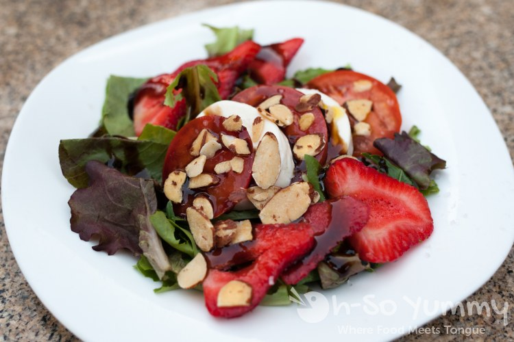 strawberry caprese salad at The Melting Pot of San Diego - La Jolla