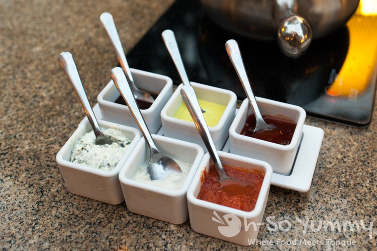 dipping sauces at The Melting Pot of San Diego - La Jolla