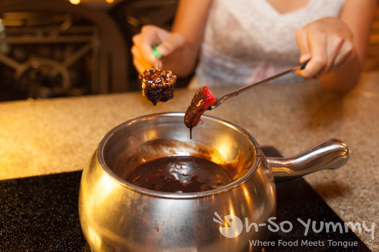 flaming turtle chocolate fondue at The Melting Pot of San Diego - La Jolla