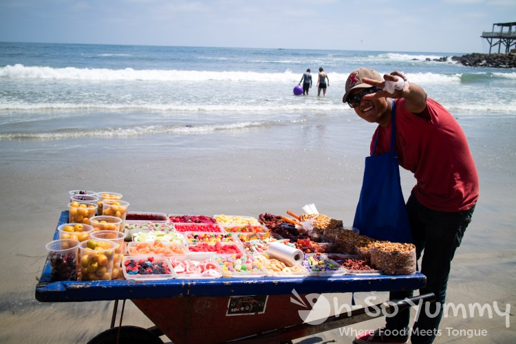 candy vendor at the fishing village of Popotla, B.C., Mexico