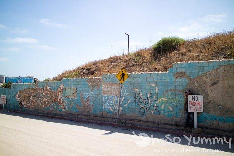 painted mural of side wall at the fishing village of Popotla, B.C., Mexico