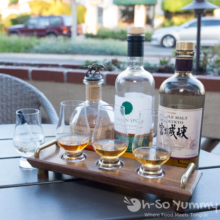 bartender's choice whiskey flight at Nick and G's in Rancho Santa Fe, California