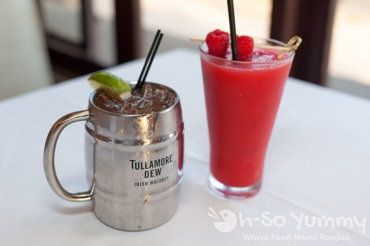 irish mule and raspberry freeze at Pacifica Del Mar seafood restaurant