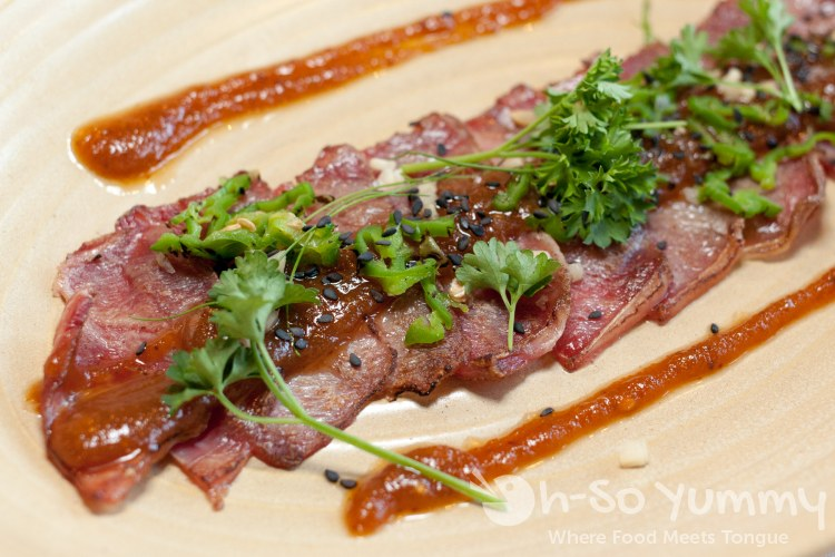 tataki new york strip steak at Pacifica Del Mar seafood restaurant